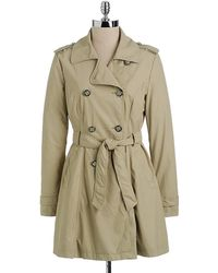 Jessica Simpson - Fauxleather Trench Coat - Lyst