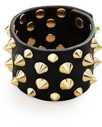 Balmain Studded Leather Bracelet Gold - Black