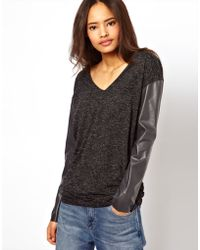 ASOS Collection Top with V Neck and Pu Sleeves in Texture - Lyst