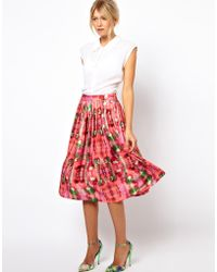ASOS Collection  Midi Skirt in Digital Floral Print - Lyst