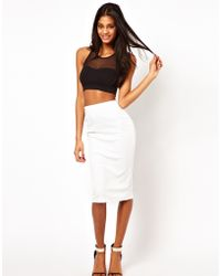 ASOS Collection Asos Pencil Skirt in Embossed Texture white - Lyst