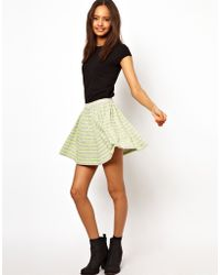 ASOS Collection  Skater Skirt in Neon Stripe yellow - Lyst