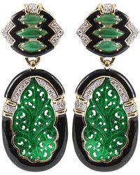 David Webb | Diamond and Black Enamel Carved Jade Earrings | Lyst
