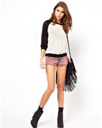 Glamorous Acid Wash Denim Shorts - Pink