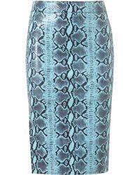 Jeremy Scott Snake Printed Leather Pencil Skirt - Lyst