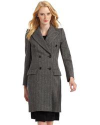 Moschino Wool Herringbone Coat - Lyst