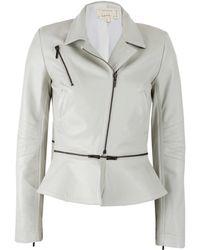 Nicole Miller Long Sleeve Leather Jacket with Zip Off Peplum - White