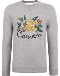 Carven Grey Melange Botanical Embroidered Sweatshirt