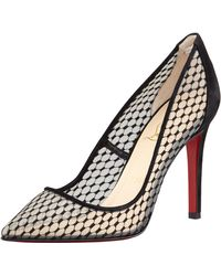 Christian Louboutin Pigaresille Lace Pattern Suede Red Sole Pump - Lyst