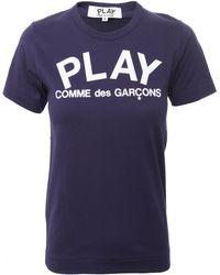 Play Comme des Garçons Play Navy Collection Womens Logo T-Shirt Navy blue - Lyst