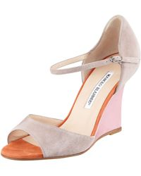 Manolo Blahnik | Weldina Suede Mary Jane Patent Wedge Sandal Taupe | Lyst