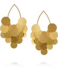 Herve Van Der Straeten Pastilles Hammered Goldplated Earrings - Metallic