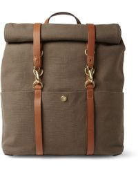 Mismo Leathertrimmed Canvas Backpack - Brown