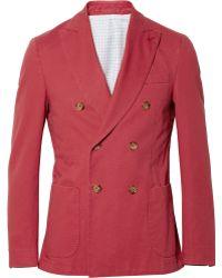 Slowear Montedoro Cottontwill Blazer - Red