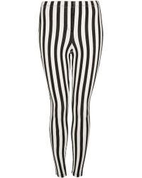 Topshop Stripe Denim Look Leggings - Lyst