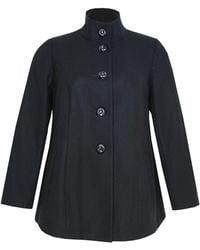 Ann Harvey   Black Funnel Neck Coat   Lyst