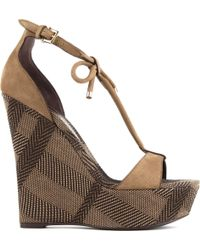 Burberry Check Canvas Wedge Sandals - Lyst