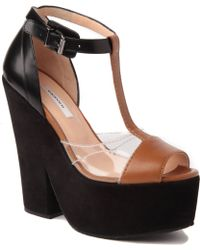 Carven Suede and Leather Wedge Sandals - Lyst