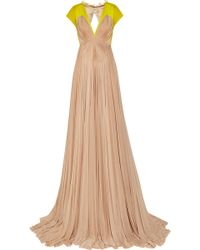 Delpozo Pleated Cotton-Blend and Chiffon Gown - Lyst