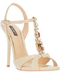 Dolce & Gabbana Embellished T-Bar Sandal - Lyst