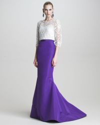 Oscar de la Renta Silk Faille Fishtail Skirt blue - Lyst