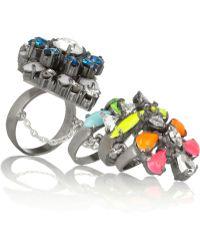 Shourouk - Tzarine Silverplated Swarovski Crystal Ring - Lyst