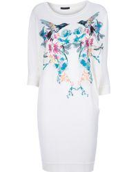 Alexander McQueen Hummingbird Embroidered Dress white - Lyst