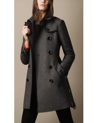 Burberry Brit Midlength Woven Wool Blend Trench Coat - Lyst
