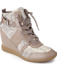 Sam Edelman Brogan Leather Wedge Trainers - Grey