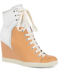 See By Chloé Peter Leather Wedge Trainers - Brown