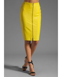 By Malene Birger Luxurious Leather Pencil Skirt in Neon Yellow - Lyst