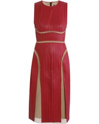 Marios Schwab Leather Pleat Dress - Lyst