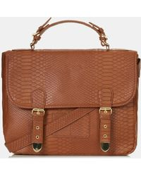 Topshop Snake Embossed Faux Leather Satchel - Lyst
