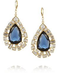 Kenneth Jay Lane Gold Plated Crystal Earrings - Lyst