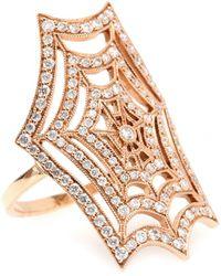 Stone - 18kt Rose Gold Spider Spirit Ring With White Pavé Diamonds - Lyst