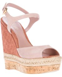 Gucci Wedge Sandal pink - Lyst