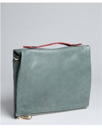 Pour La Victoire Soft Sage Leather Yves Zip Clutch - Lyst