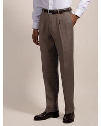 Brooks Brothers Irish Linen Pleat-Front Trousers - Lyst