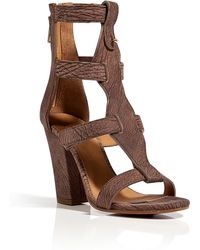 Chloé Strappy Leather Sandals In Mud - Lyst