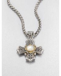 Konstantino Motherofpearl Pearl Sterling Silver and 18k Yellow Gold Cross Necklace - Metallic