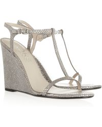Kors by Michael Kors Ruby Snakeeffect Leather Wedge Sandals - Metallic