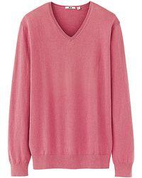Uniqlo Men Cotton Cashmere V Neck Sweater - Lyst