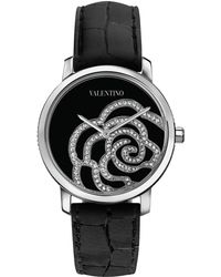 Valentino Diamond Rose Crocodilestrap Watch - Black