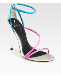 B Brian Atwood Labrea Metallic Snakeembossed Leather Sandals - Lyst