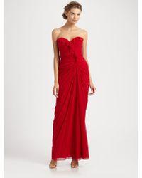 Badgley Mischka Strapless Silk Gown - Lyst