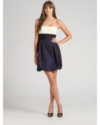 BCBGMAXAZRIA Strapless Colorblock Taffeta Dress - Lyst