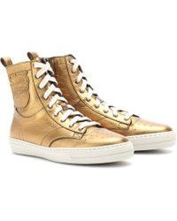 Burberry - Northfield Metallic Leather Sneakers - Lyst