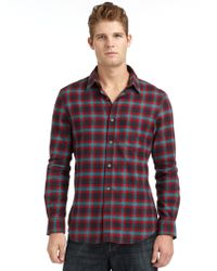 French Connection Wool Tide Plaid Flannel Sportshirt - Lyst