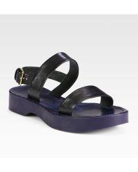 Jil Sander Suede Slingback Platform Sandals - Black