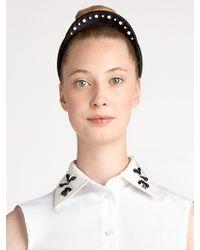 Jil Sander Navy Embroidered Satin Headband - Black